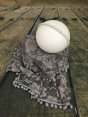 Newborn Baby photo props outfit grey lace wrap with matching pearl headband