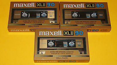 """3x MAXELL XL II 90 """"Die Goldene"""" 1985 + MADE IN JAPAN + NEW & SEALED +"""