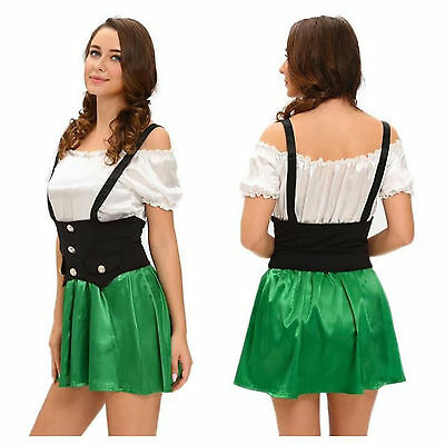 St Patricks Leprechaun Costume Bavarian Fancy Dress Oktoberfest Beer Girl Outfit