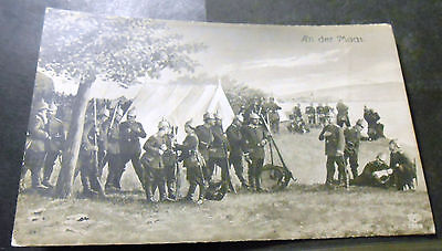 Germany WW I. PC - German Soldier in a camp near River Maas ! used Fieldpost