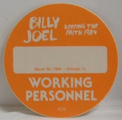 Billy Joel - Old Billy Joel Tour Concert Cloth Backstage Pass ***last One***