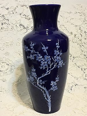 Large Chinese Porcelain Monochrome Cobalt Blue Vase Prumus Blossoms