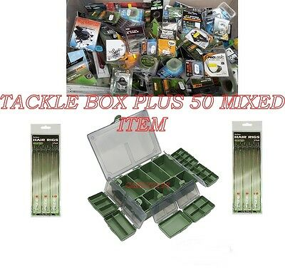 Carp Fishing Tackle Box With 50 Assorted Terminal End Tackle Items - Top Brands
