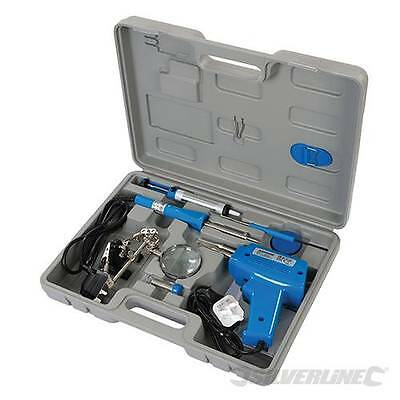 Silverline Electrical Soldering Kit 9pce Set Iron Gun Solder Stand Tool 845318