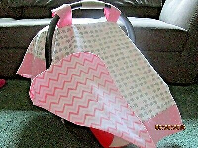 **PINK & GRAY ELEPHANTS** w/chevron backing Handmade Baby Car Seat Canopy-Cover