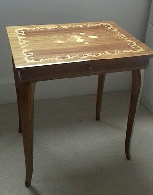 Vintage lacquered inlaid marquetry musical jewellery table