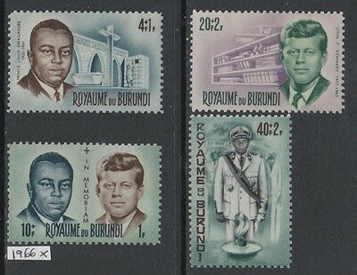 XG-AA290 BURUNDI - Kennedy, 1966 In Memory, 4 Values MNH Set