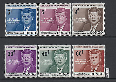 XG-AA300 CONGO BRAZZAVILLE - Kennedy, 1964 In Memory, 6 Values MNH Set