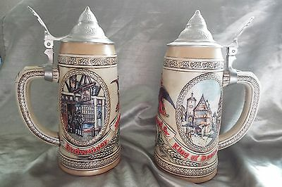 Anheuser Busch Lidded Beer Steins Series K & N Tavern Scenes - Very Clean !