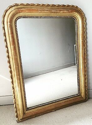 Large Antique french gilt pie crust shabby chic mirror