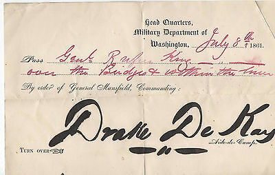 Civil War military pass issued General Rufus King July 8, 1861