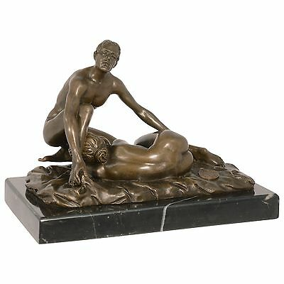 Lovers Erotik Bronze Liebesakt 69er Position Hot Oral Figuren Mann Frau 12,7 cm
