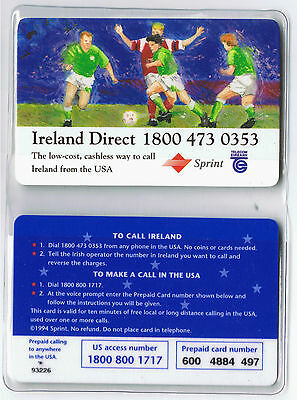 Ireland Direct World Cup 94 Complimentary card in wallet with map.