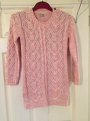 Girls Pink Chunky Winter Jumper From Next, Age 9-10 Years