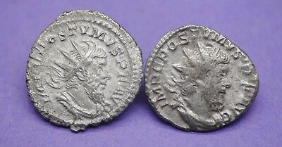 Group of 2 Ancient Roman silver ant coins of Postumus