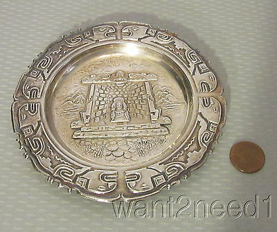 "vtg handcrafted PERU 925 STERLING SILVER DISH 5"" priest meditation temple 53g"