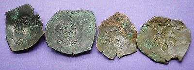 Group of four ancient Byzantine cup coins depicting Christ 9th-12th century AD