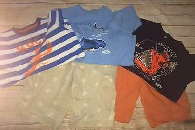 Lands' End Boys Size 10-12 Husky Lot- 3 Tshirts & 2 Pair Of Shorts