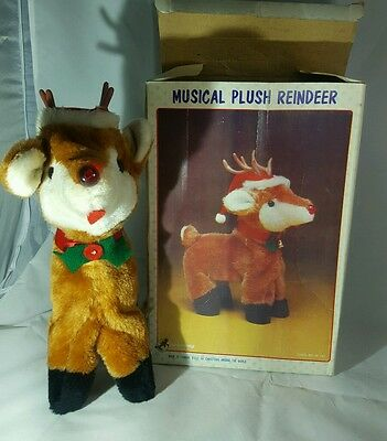 Vintage Christmas Around The World Musical Plush Reindeer In Box See Video