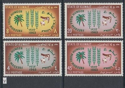 XG-AA750 KUWAIT IND - Freedom From Hunger, 1963 4 Values MNH Set