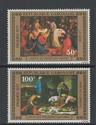 XG-AA920 GABON - Paintings, 1977 Easter, Airmail, 2 Values MNH Set