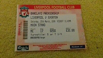 376) Liverpool v Everton ticket stub premiership 25-3-2006