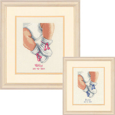 Vervaco - Counted Cross Stitch Kit - Birth Record - Booties - 200245.232