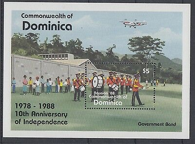 XG-AC010 DOMINICA IND - Independence, 1988 Ann., Music, Band Playing MNH Sheet