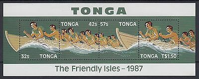 XG-AC340 TONGA IND - Ships, 1987 Inter Islands Canoe Race MNH Sheet