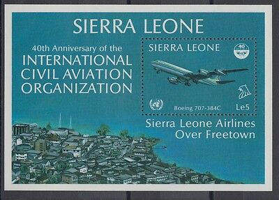 XG-AC370 SIERRA LEONE IND - Aviation, 1985 Icao Civil Organisation Jet MNH Sheet