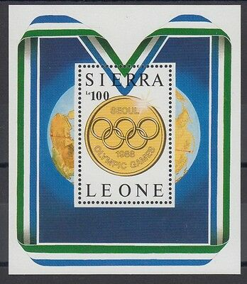 XG-AC400 SIERRA LEONE IND - Olympic Games, 1987 Gold Medal, Map MNH Sheet