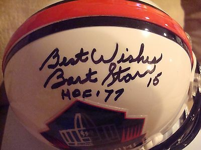 Bart Starr AUTOGRAPH HALL OF FAME Mini Helmet SIGNED HOF 77