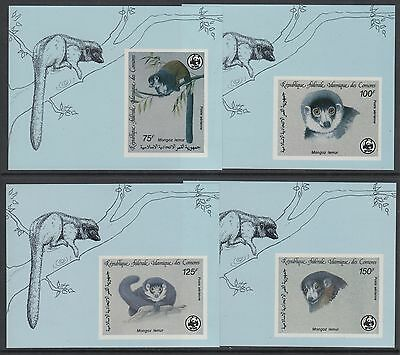 XG-BA079 COMOROS IND - Wwf, 1987 Wild Animals, 4 Deluxe Sheets Imperf. MNH