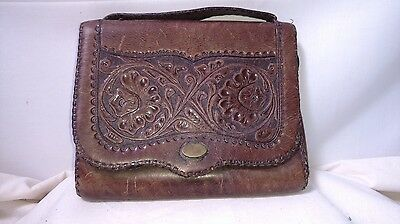Antique Art Nouveau Hand Tooled Daffodil Floral Leather purse clutch Great