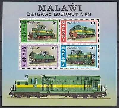 XG-AD480 MALAWI - Trains, 1976 Railways, Locomotives MNH Sheet