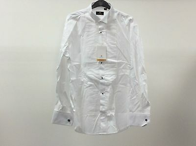 Mens White Wing Pleated Stud Button Formal Tuxedo Dress Shirt 15 1/2 - 9A275