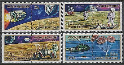 XG-AD930 COOK ISLANDS IND - Space, 1972 Apollo Moon Explorations 4 Pairs MNH Set
