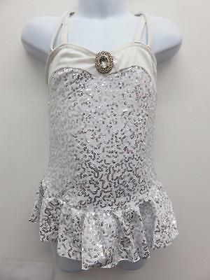 Dance Costume Small Child White Sequin Dress and Tutu Ballet Solo Competition