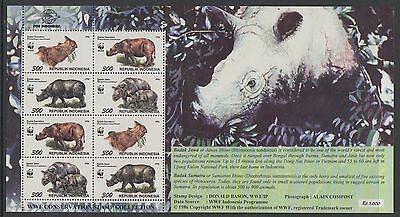 XG-BA164 INDONESIA - Wwf, 1996 Wild Animals, Rhinoceros, 2 Sets MNH Sheet