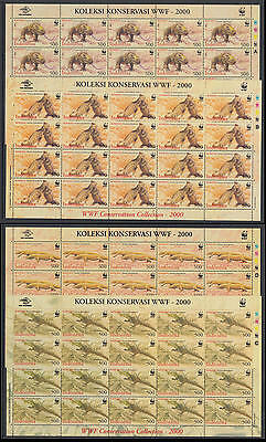 XG-BA275 INDONESIA - Wwf, 2000 Wild Animals, Komodo Dragon, 4 Sheets MNH