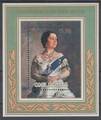 XG-AE020 COOK ISLANDS IND - Royalty, 1987 Q. Mother, Hurricane Relief MNH Sheet