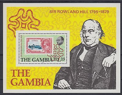 XG-AE030 GAMBIA IND - Stamp On Stamp, 1979 Rowland Hill MNH Sheet