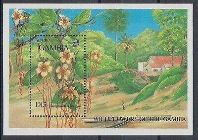 XG-AE060 GAMBIA IND - Flowers, 1987 Wild Flora, Nature MNH Sheet