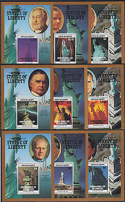 XG-AE490 ST VINCENT & GRENADINES IND - Statue Of Liberty, 1986 9 Sheets MNH