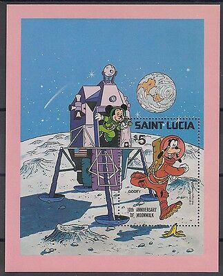 XG-AE540 ST LUCIA IND - Disney, 1980 Space, Moonlanding Anniversary MNH Sheet