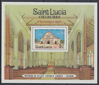 XG-AE570 ST LUCIA IND - Architecture, 1986 Christmas, Churches MNH Sheet