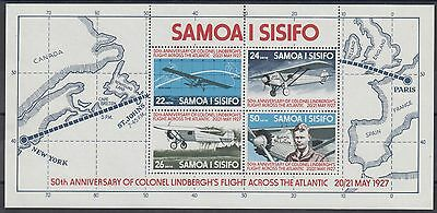 XG-AE790 SAMOA I SISIFO - Aviation, 1977 Lindbergh Atlantic Flight MNH Sheet