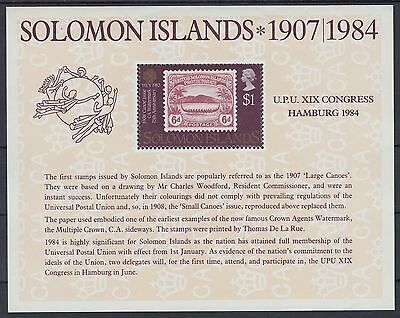 XG-AE840 SOLOMON ISLANDS IND - Stamp On Stamp, 1984 Upu Congress MNH Sheet