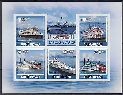 XG-AF030 GUINEA-BISSAU - Ships, 2009 Steam Engine, 5 Values Imperf. MNH Sheet