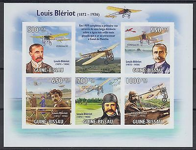 XG-AF050 GUINEA-BISSAU - Aviation, 2009 Louis Bleriot 5 Values Imperf. MNH Sheet